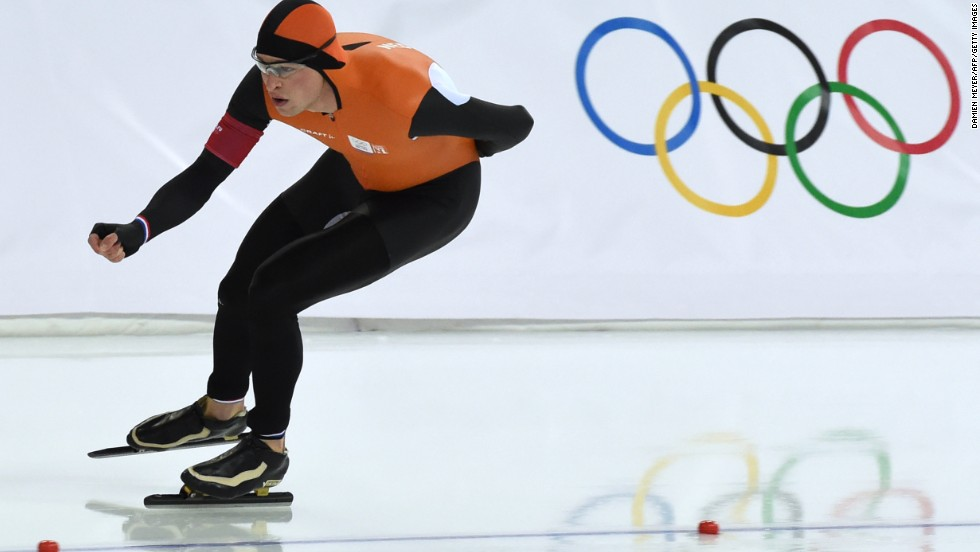 Netherlands' Sven Kramer skates his way to gold in the Men's Speed Skating 5000m at the Adler Arena in Sochi.