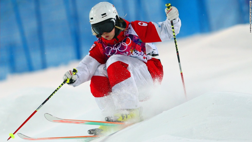 Canada's Justine Dufour-Lapointe rides the bumps on the mogul course at Sochi's Rosa Khutor Extreme Park. The 19-year-old took gold, pipping her older sister Chloe to the Olympic women's moguls title.