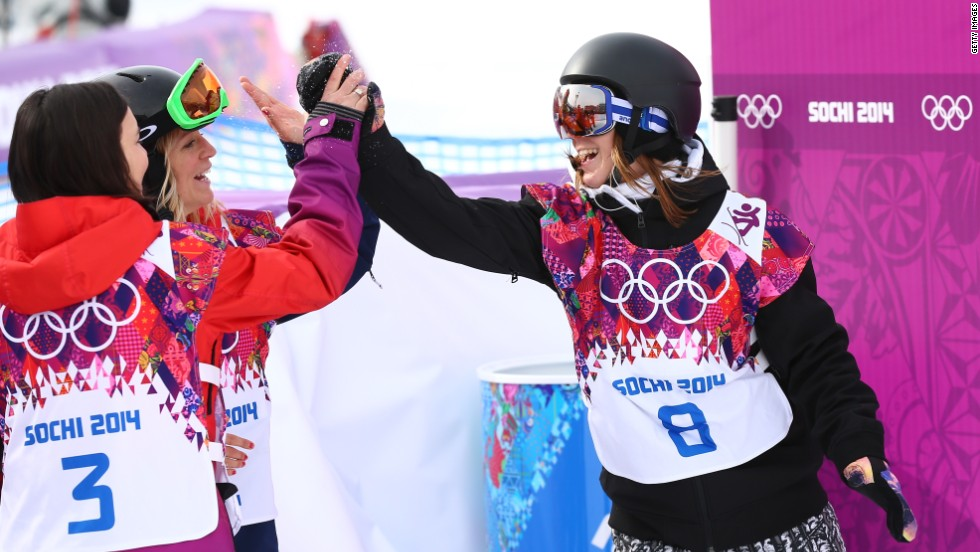 Enni Rukajarvi of Finland and Jenny Jones of Great Britain celebrate after their medal-winning runs in the exciting new discipline.