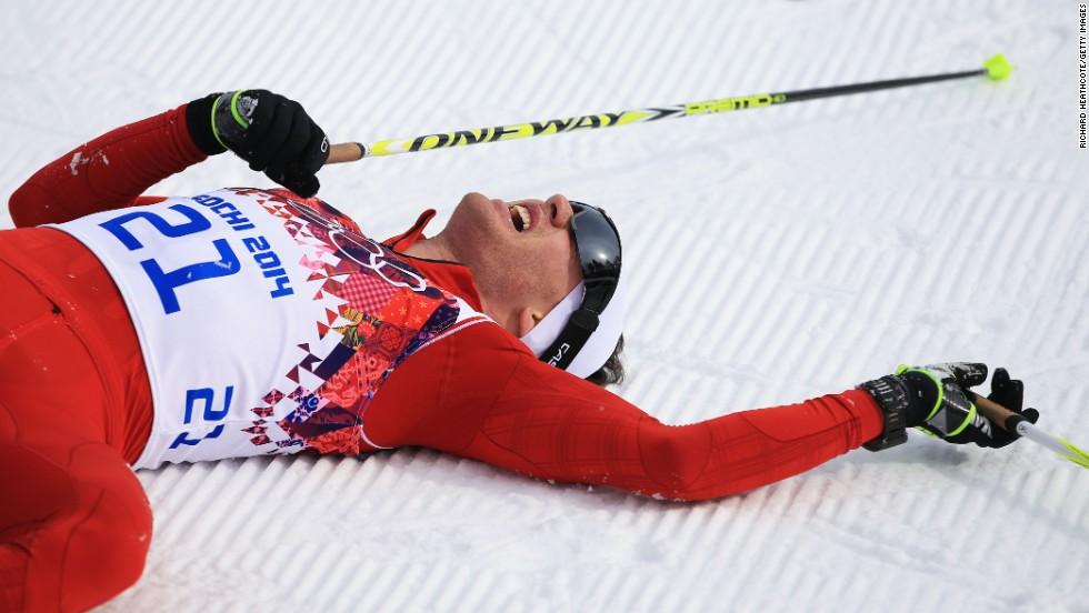 Dario Cologna of Switzerland won the men's skiathlon February 9.
