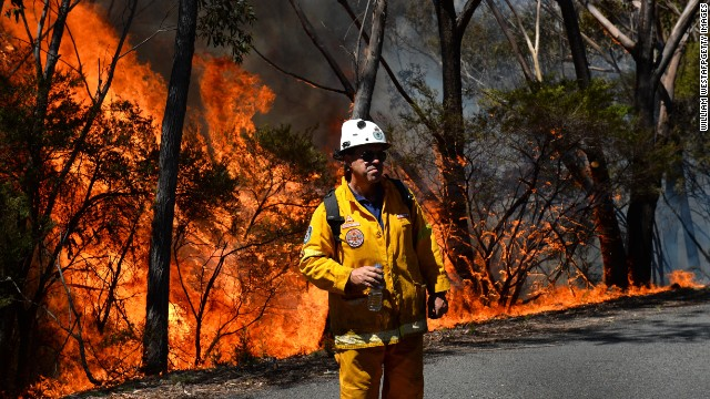 A firefighter monitors a back burn on Mt Victoria last year. Bushfires are a common summer occurrence in Australia