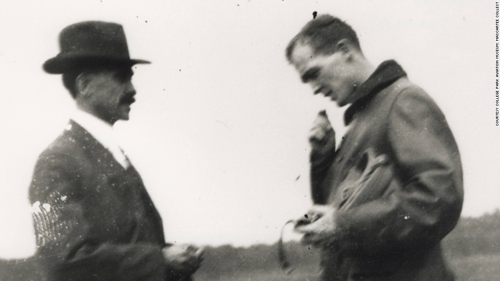 "Orville Wright, left, taught a young soldier named Henry ""Hap"" Arnold, right, to fly at College Park and at Huffman Prairie. Arnold would later go on to become the only five-star general in the history of the U.S. Air Force."