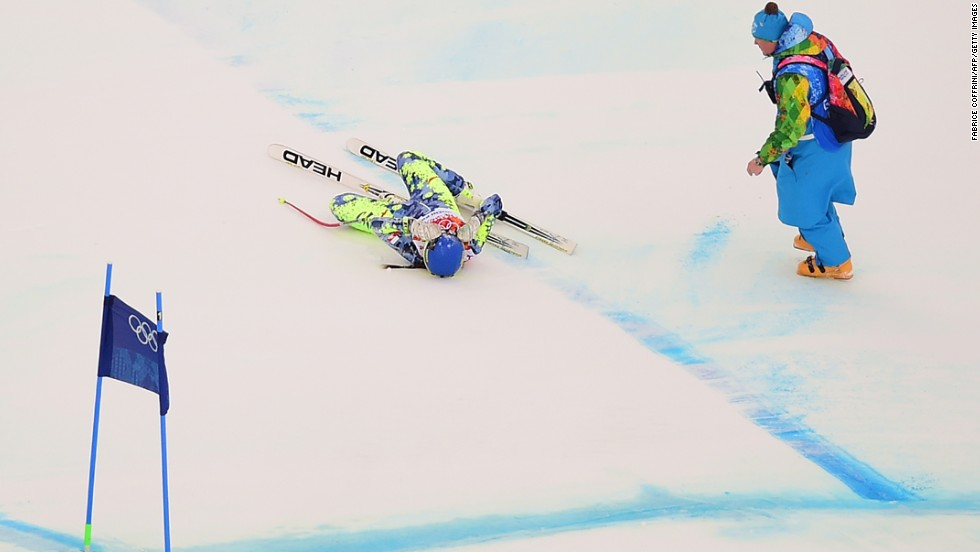 Chilean skier Noelle Barahona lies on the snow after she fell during the downhill portion of the super-combined event on February 10.