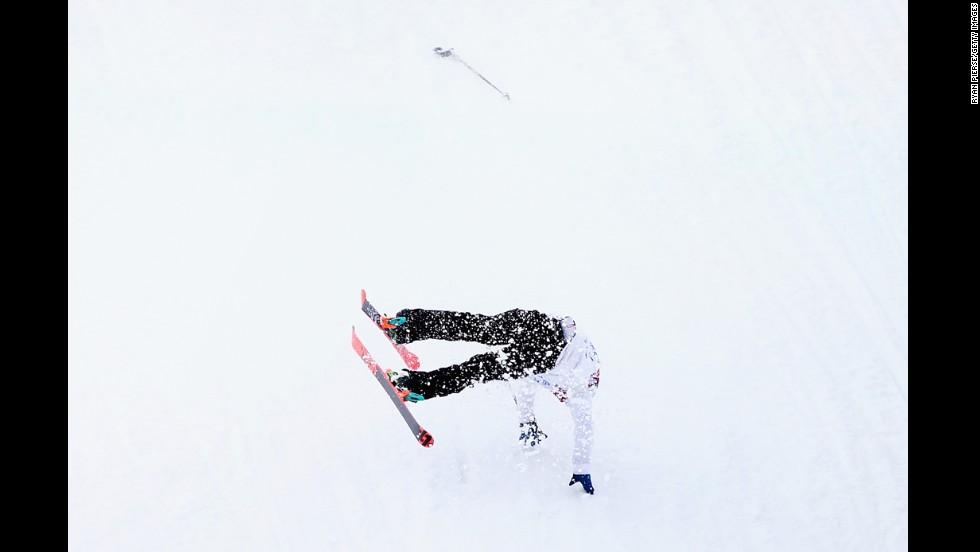 Snowboarder Otso Raisanen of Finland crashes during slopestyle training on February 10.