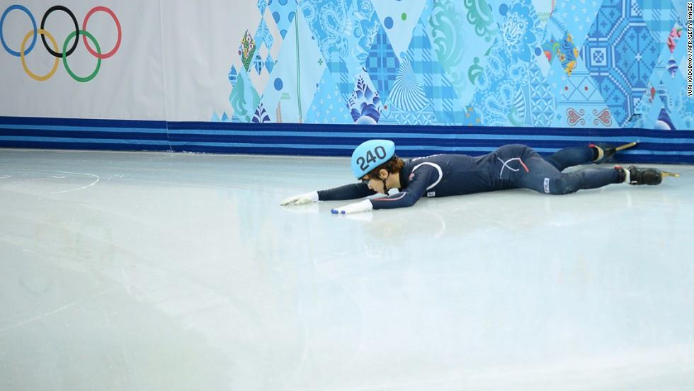 South Korea's Lee Han-Bin falls during the 1,500-meter semifinals.