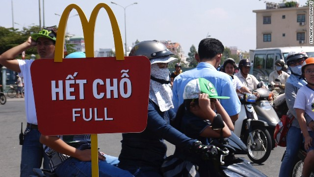 Hundreds came out on February 8 to be among the first to try Vietnam's first McDonald's restaurant.