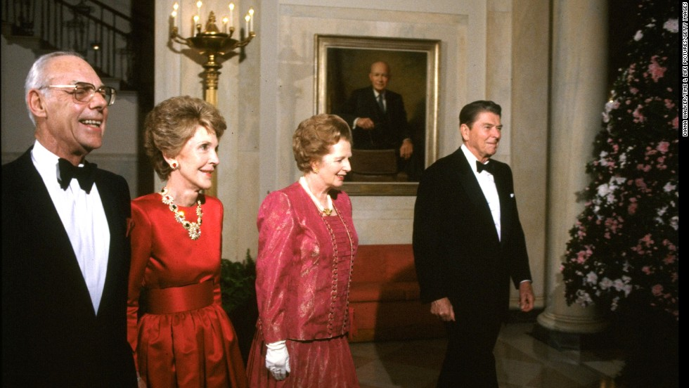 President Ronald Reagan and first lady Nancy Reagan walk with British Prime Minister Margaret Thatcher and her husband, Denis Thatcher, during a state dinner in November 1988.