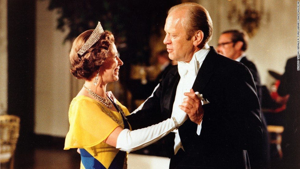 President Gerald Ford dances with Britain's Queen Elizabeth during the state dinner on July 17, 1976.