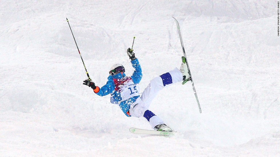 Ville Miettunen of Finland crashes out in the men's moguls.