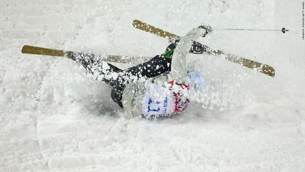 Dale Begg-Smith of Australia crashes in men's moguls.