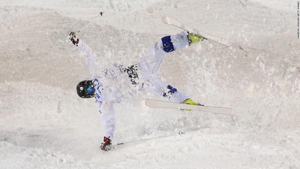 Jussi Penttala of Finland crashes in men's moguls.