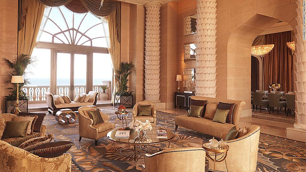 Guests at The Royal Bridge Suite at Atlantis, the Palm in Dubai get complimentary spa services, personal training sessions, dolphin encounters, access to the N'Dulge nightclub and unlimited passes to the attached Aquaventure Waterpark. All three bedrooms come with ensuite bathrooms (though the master bedroom has two -- a his and hers). The dining room also has a gold-plated dinner table that seats 16. The pricetag? $35,000 a night.