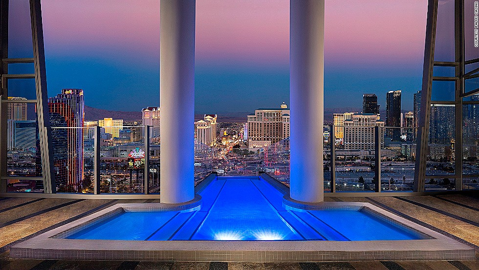 The $40,000, two-story Sky Villa at the Palms Casino Resort in Las Vegas is spread out over 9,000 square feet. Perks include a 12-person, glass-enclosed Jacuzzi pool overlooking the Vegas Strip, a private glass elevator, private terraces, a massage room, a fitness room, a dry sauna and 24-hour butler service.