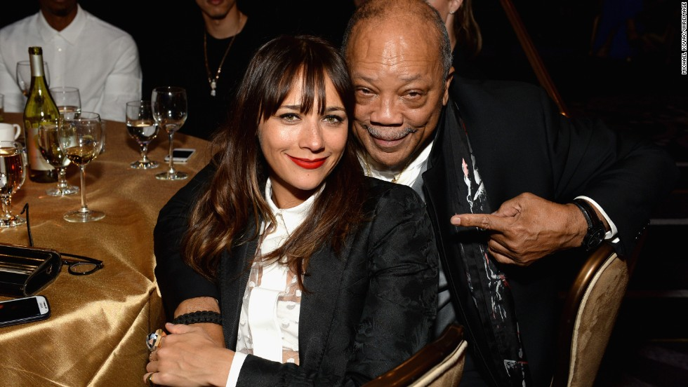 "Actress Rashida Jones is the daughter of actress Peggy Lipton and record producer Quincy Jones, pictured here. On her identity, <a href="" http://www.bet.com/news/celebrities/2012/07/10/rashida-jones-on-being-bi-racial-i-have-no-issues-with-my-identity.html "" target=""_blank"">she remarked</a>: ""It's more of a challenge for other people than it is for me. I have no issues with my identity.""<br />"