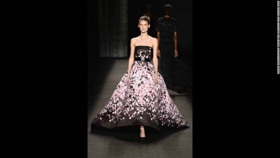 This Monique Lhuillier gown, shown at Mercedes-Benz Fashion Week this month, features skirt yardage similar to Dior's dresses of the 1940s and '50s.