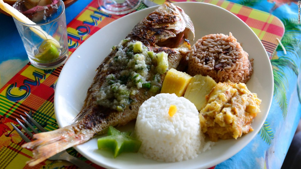 Guadeloupe's cuisine is a mélange of Indian, African and European influences. Meals often begin with cod fritters followed fresh seafood in spiced tomato stews, curries and stuffed vegetables.
