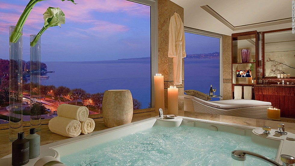 Costing $83,200 a night, the Royal Penthouse Suite at the Hotel President Wilson in Geneva is the most expensive hotel room in the world. The 12-bedroom suite has hosted a venerable guest list, including Bill Gates and Michael Douglas. Apparently, some famous musicians have found inspiration in the panoramic views of Lake Geneva and the Swiss Alps.