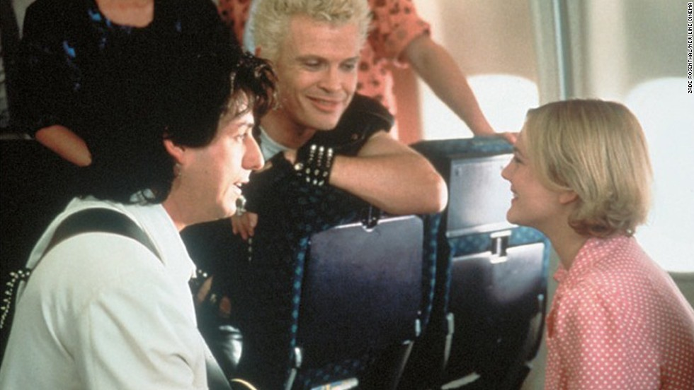 Through a series of romantic comedy misunderstandings, wedding singer Robbie Hart (Adam Sandler) must run to the airport and buy a first-class plane ticket (all of the coach seats are sold out) to profess his feelings for waitress Julia Sullivan (Drew Barrymore).