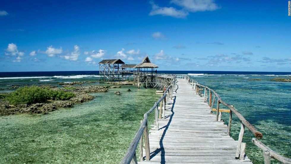 Beyond this pier is Cloud 9, one of Siargao's most famous surf breaks.