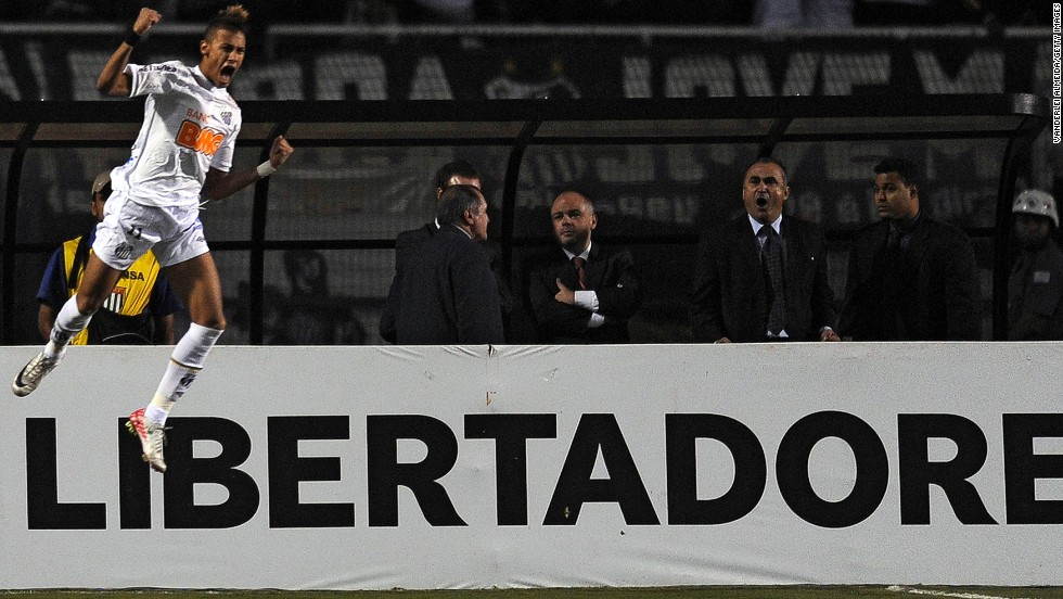 Neymar rose to prominence at Pele's former club Santos. In 2010, he led the club to their first Copa Libertadores title since Pele's days, with Neymar scoring the opening goal in a 2-1 aggregate win over Uruguay's Penarol in the final.