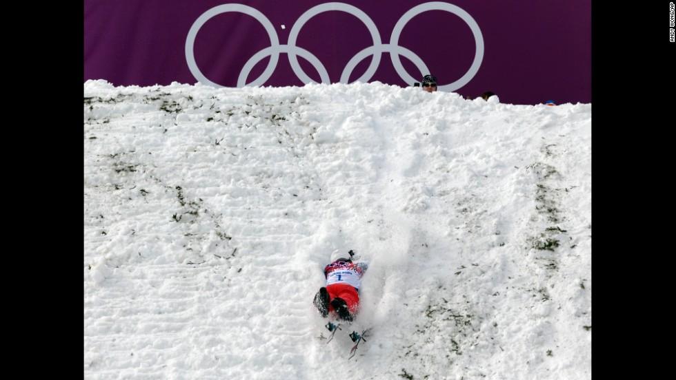 Chinese skier Liu Zhongqing crashes during aerials training on February 10.