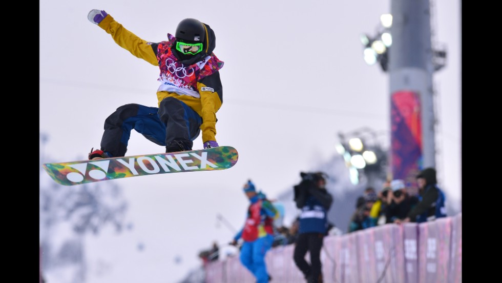 South Korean snowboarder Lee Kwang-ki jumps during qualifying for the men's halfpipe on February 11.