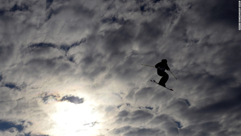 A skier competes in the women's slopestyle finals on February 11.