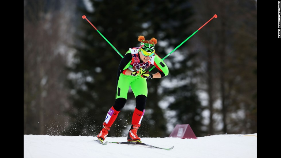 Valiantsina Kaminskaya of Belarus competes in the qualification round of the women's cross-country sprint on February 11.
