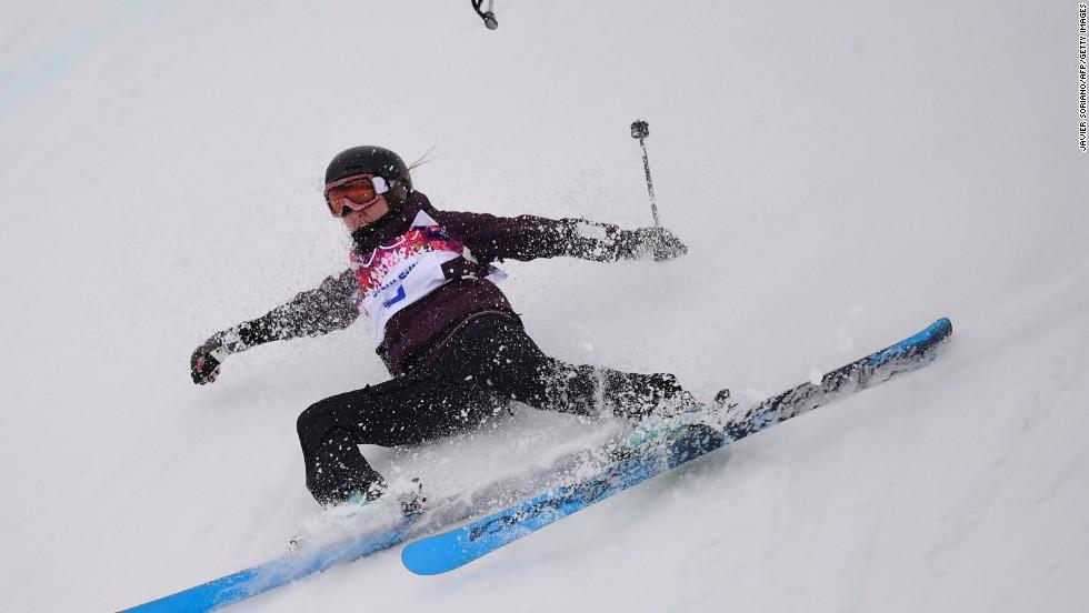 Austria's Philomena Bair falls during slopestyle qualification on February 11.