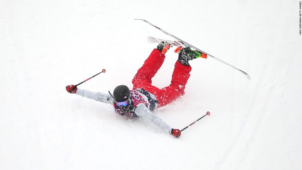 Devin Logan of the United States slides down the mountain at the end of her slopestyle run on February 11.