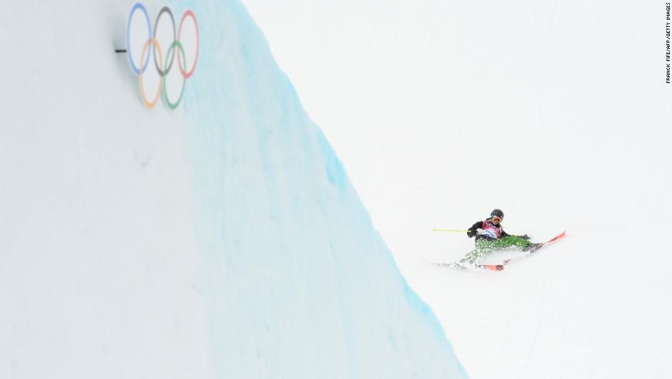 Italian skier Silvia Bertagna falls during slopestyle qualification on February 11.