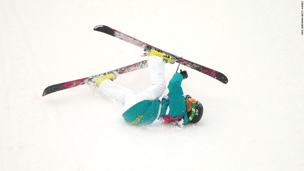 Anna Segal of Australia falls while competing in slopestyle.