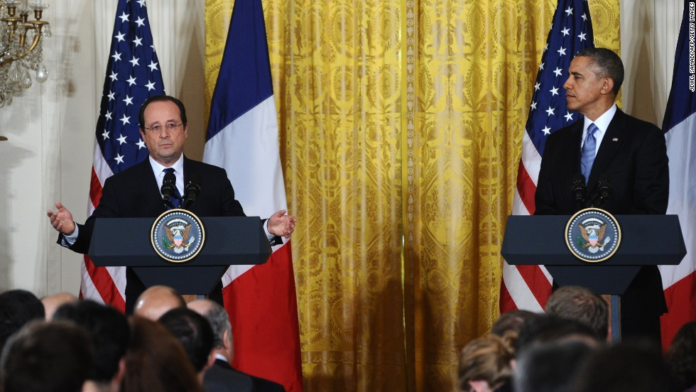 Obama and Hollande hold a news conference on February 11.