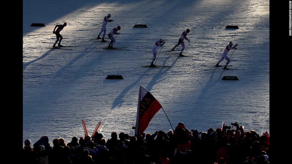 Cross-country skiers compete in the finals of the men's sprint event February 11.