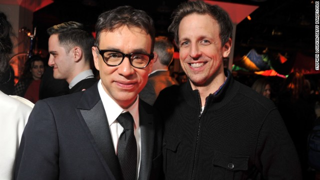 "Seth Meyers, right, takes over ""Late Night"" with Fred Armisen as bandleader."