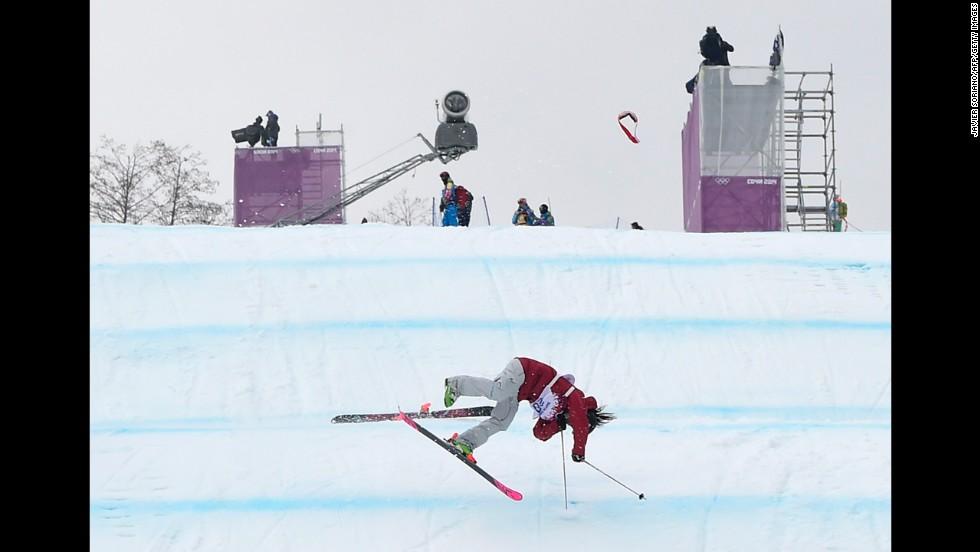 Canadian skier Yuki Tsubota crashes in the slopestyle finals on February 11.