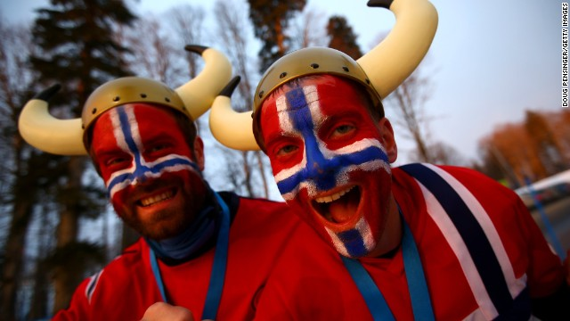 Norwegian fans attend the Women's 10 km Pursuit during day four of the Sochi 2014 Winter Olympics at Laura Cross-country Ski & Biathlon Center on February 11, 2014 in Sochi, Russia