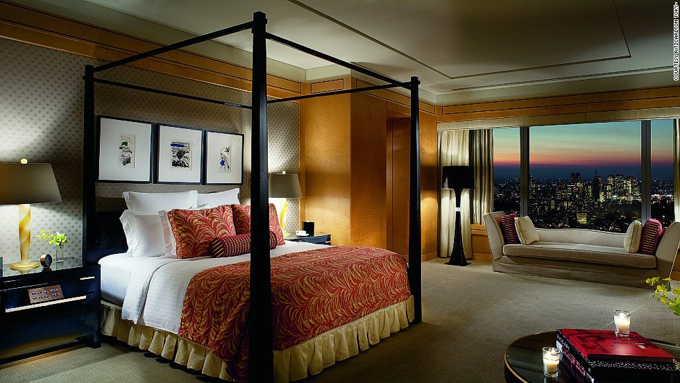 The Frank Nicholson-designed suite the Ritz-Carlton Tokyo ($20,000) comes with a four-poster king-size bed, Frette linens, a private den and a dining room that seats 16. As the suite resides in Tokyo's tallest tower, the views of Shinjuku's skyline are pretty spectacular.