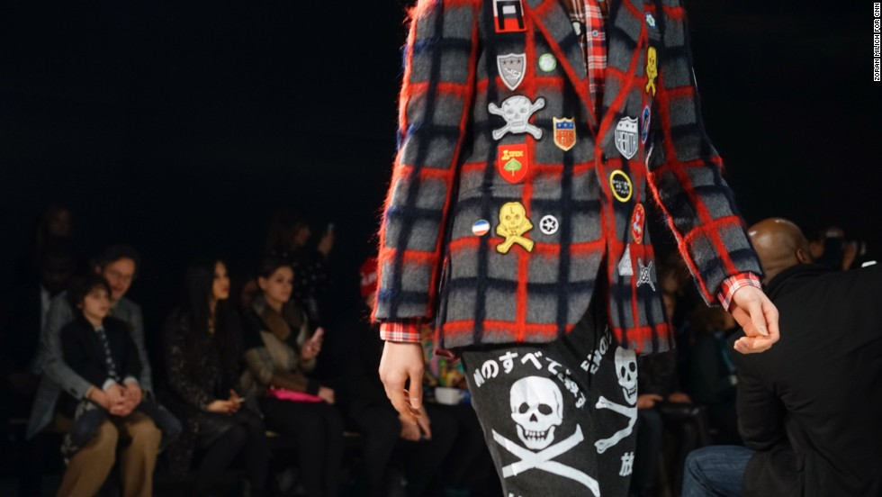 Libertine's collection also included menswear. Many of the jackets were embellished with skull-and-crossbones patches.