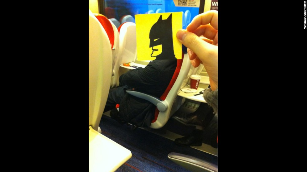 """Commuting is a drag, but UK illustrator and author Joe Butcher keeps himself entertained by giving his fellow train riders alter egos. Their new identities are unveiled on Twitter by Butcher's own alter ego, <a href=""""https://twitter.com/OctoberJones"""" target=""""_blank"""">October Jones</a>.  """"OMG YOU GUYS I'M ON THE BAT-TRAIN,"""" he tweeted."""