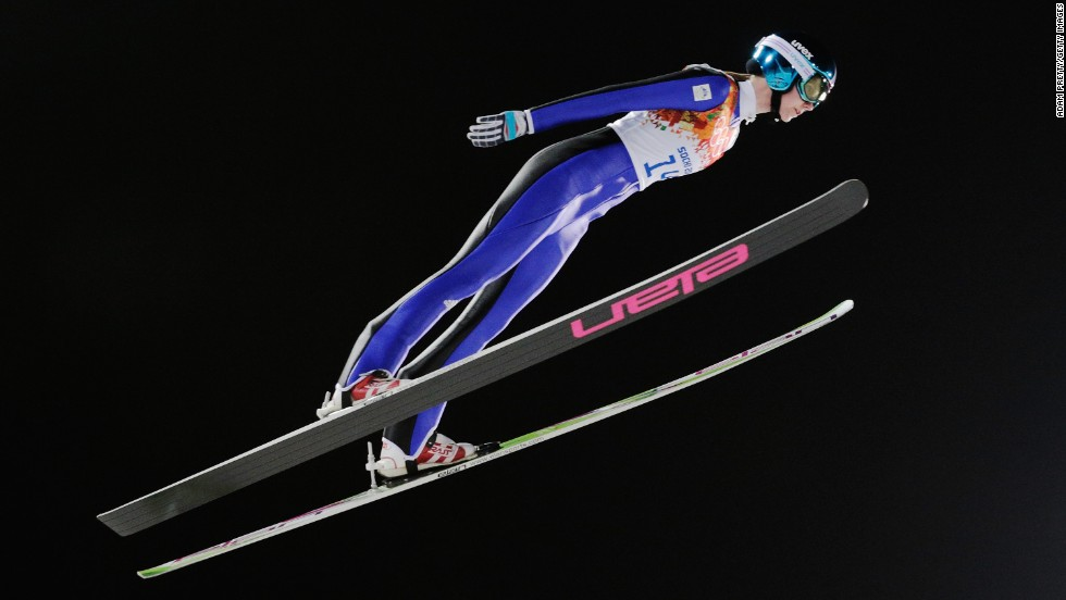 Katja Pozun of Slovenia jumps during the women's normal hill ski jumping event on February 11.