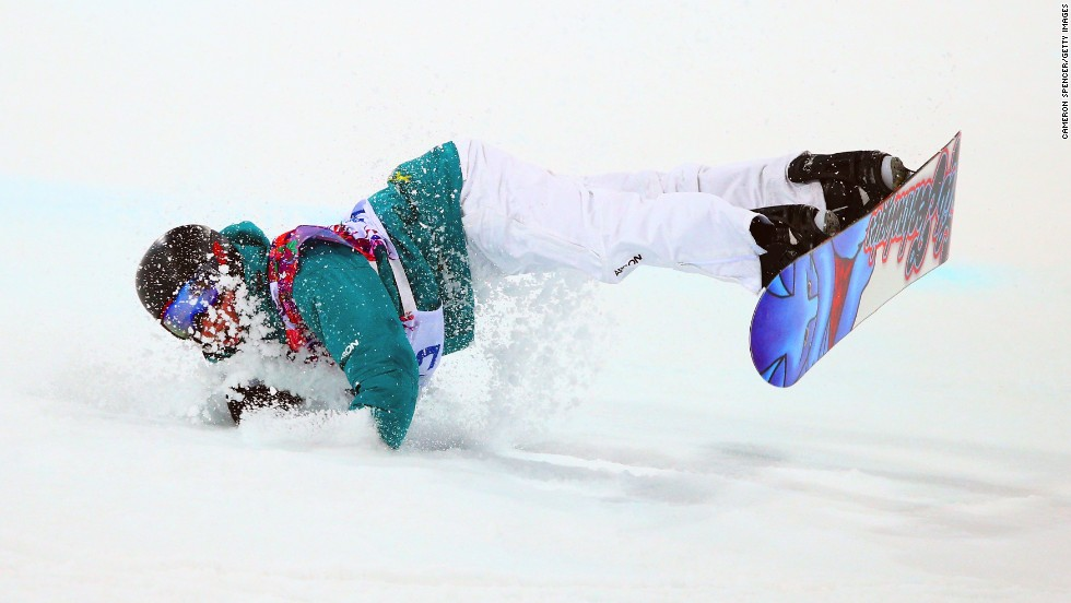 Snowboarder Kent Callister of Australia crashes out in the men's halfpipe finals on Tuesday, February 11.