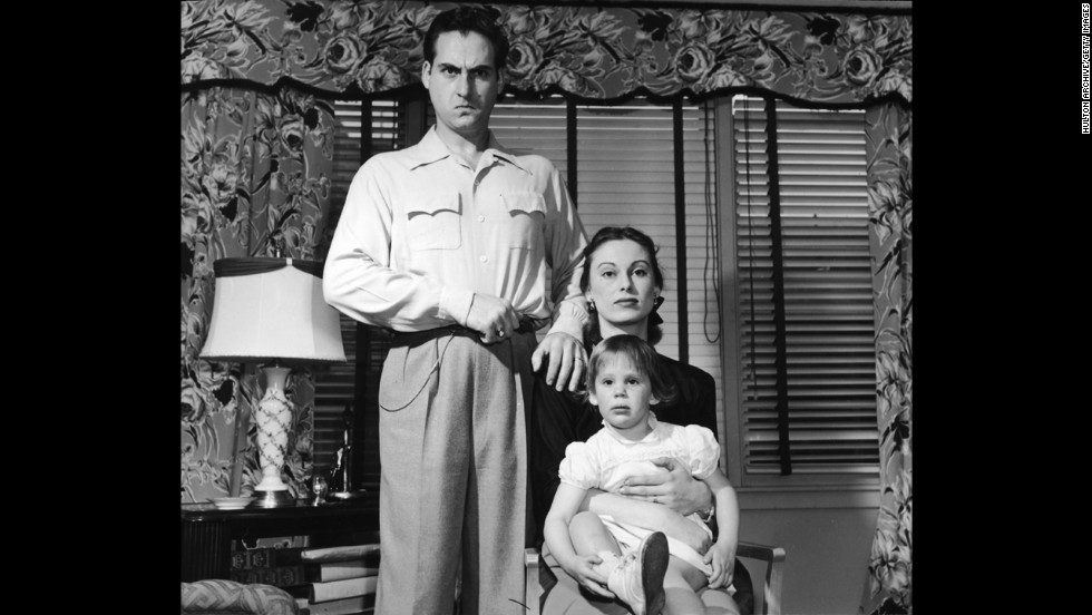 Caesar poses for a portrait in 1953 with his wife, Florence, and their daughter, Karen.