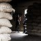 Cocoa bean sacks in Ivory Coast storage shed
