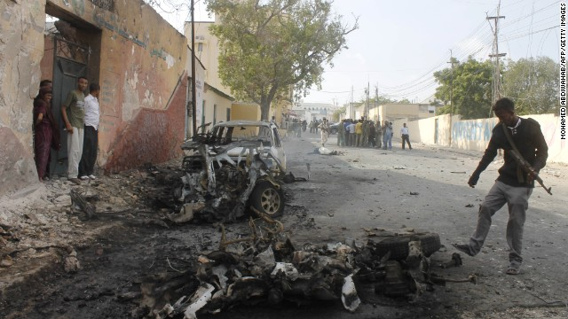 At least eight mortar rounds rained down on the Somali capital of Mogadishu late Wednesday, coming of the heels of recent attacks that have included mortar strikes and car bombs (above).