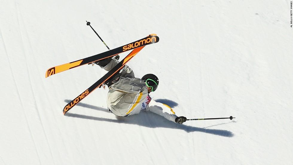 Oscar Wester of Sweden falls during the men's slopestyle.
