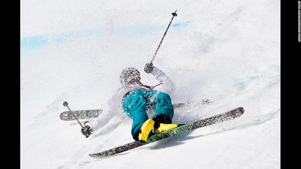 Finland's Aleksi Patja crashes in the men's slopestyle.