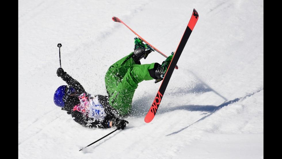 Italy's Markus Eder crashes in the men's slopestyle.