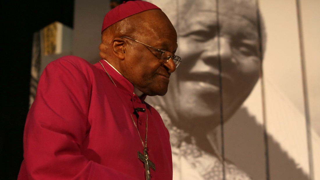 Archbishop Desmond Tutu attends the launch of Cape Towns Nelson Mandela Legacy Exhibition at the Civic Centre on July 30, 2013. Mandela, who turns 95 next month, was rushed to hospital three weeks ago with a recurrent lung disease. AFP PHOTO/STRINGER (Photo credit should read -/AFP/Getty Images)
