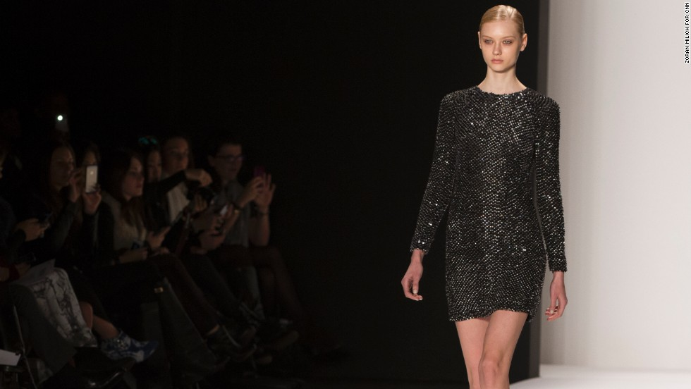 KAUFMANFRANCO debuted a metallic cocktail dress as part of their fall 2014 collection.